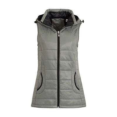 Calvin Klein Hooded Padded Gilet with Faux Fur Trim in Silver Grey