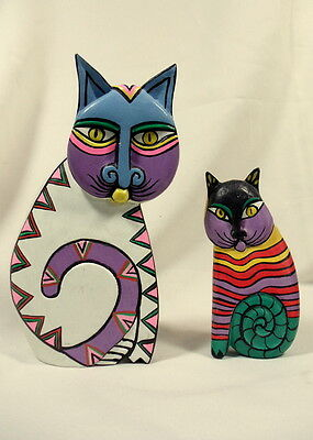 Vintage Carved Painted Cat Figurines Laurel Burch Modern Cats Set of 2