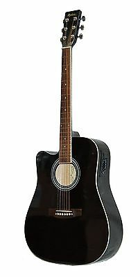 New Madera Lefty Full Size Black Acoustic-Electric Cutaway Guitar