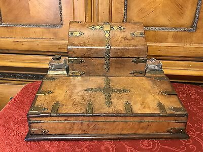 Victorian English Lap Desk Burr Walnut Traveling Writing Slope & Ink Well Box