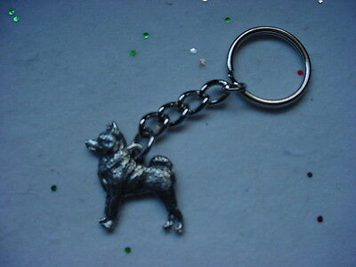 NORWEGIAN ELKHOUND Silver PEWTER DOG KEYCHAIN / CHRISTMAS ORNAMENT Key Ring NEW