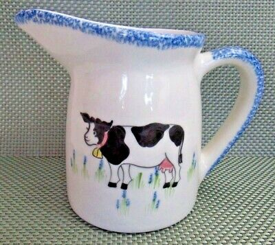 N.S. GUSTIN White Pitcher with Cow, Blue Spongeware Trim, Hand Decorated/Painted