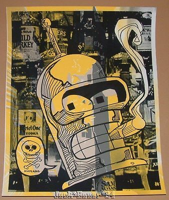Tim Doyle Futurama Bender Death To Humans Poster Print Test Sheet Art