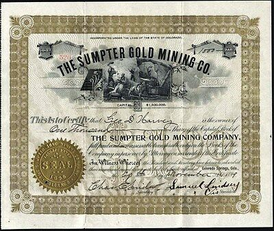 Sumpter Gold Mining Company, Cripple Creek, Co, 1899, Uncancelled Stock Cft.