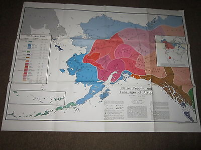 """Large Wall Map Alaska Alaskan Native Peoples and Their Languages 36"""" x48"""" Color"""