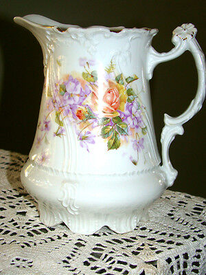 Antique CT Germany Hutschenreuther Porcelain ANTIQUE Floral Roses Footed Pitcher