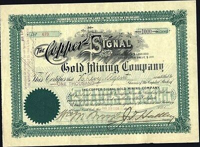 Copper Signal Gold Mining Co, Cripple Creek, Co, 1900 Uncancelled Stock Cft.