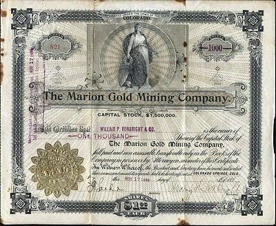 Marion Gold Mining Co., Cripple Creek, Co, 1899, Uncancelled Stock Certificate