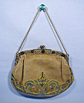 Attractive Vintage Antique French Bag Purse W/ornate 'jeweled' Brass Fram