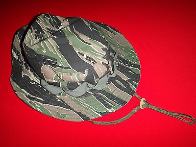 US Special Forces Tiger Stripe Tropical Hat With Chinstrap & Label *New*