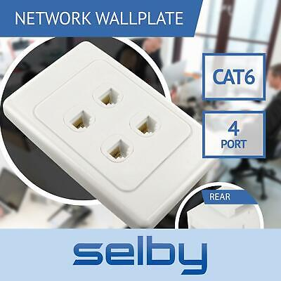 Network Wall Plate 4 Port Gang for CAT6 LAN RJ45 8P8C Cable Plug to Plug