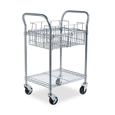 Safeco Wire Mail Cart, 600lbs, 18-3/4 x 26-3/4 x 38-1/2, Metallic Gray SAF5235GR