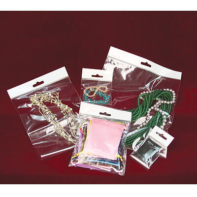100~500~1000 JEWELRY OPP BAGS w/HANGING HEADER CLEAR BAGS POLY BAG SELF SEAL BAG