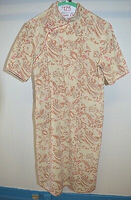 VTG 1960s Cheong-sam Linen Pink Taupe Cream Floral Print Lined Dress M