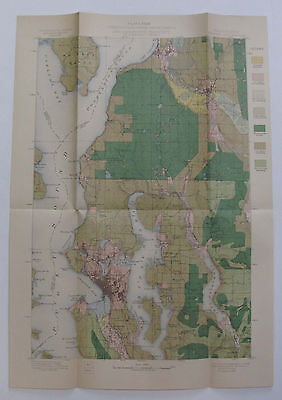 Folding Color Map Standing Timber Seattle Washington Snohomish Everett 1900