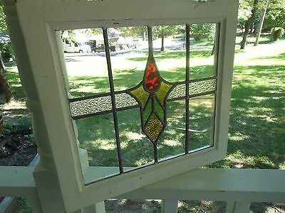 M10-198 Older Pretty Multi-Color English Leaded Stain Glass Window