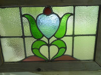 MA10 247 Lovely Older Leaded Stain Glass Window From England Reframed