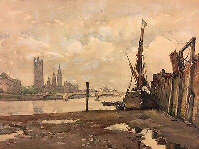Antique Signed London Watercolor Painting Renowned Listed Artist A Marc