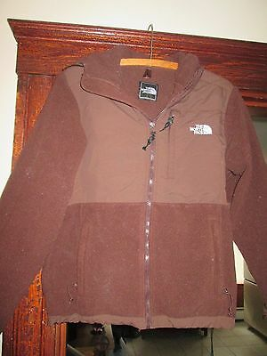 Boys Fleece Jacket Hooded By The North Face  Size Large Brown Full Zipper