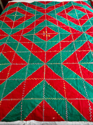 Vintage Red & Green Crazy Quilt Embroidered