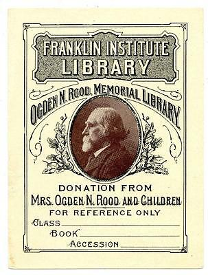 Franklin Institute Library Antique Bookplate Engraving Etching Ogden N. Rood