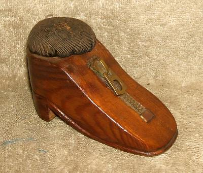 """1920's Wood """"Galoshes"""" Pin Cushion Featuring a """"Lightning Zip"""""""