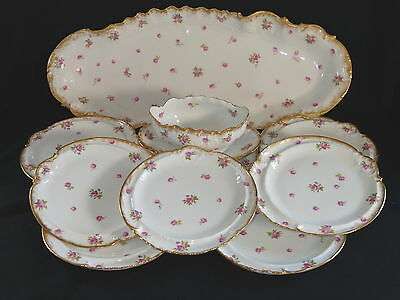 Antique French Limoges AL Lanterneir Handpainted Fish Platter Serving Set