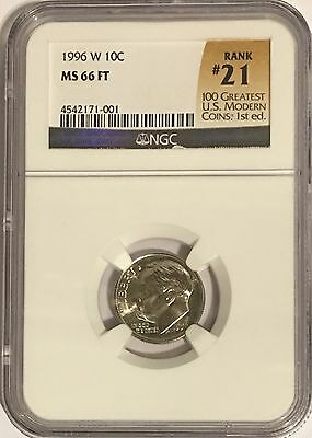 1996 W Roosevelt Dime Ngc Ms66 Ft Full Torch # 21Of 100 Greatest Us Modern Coins