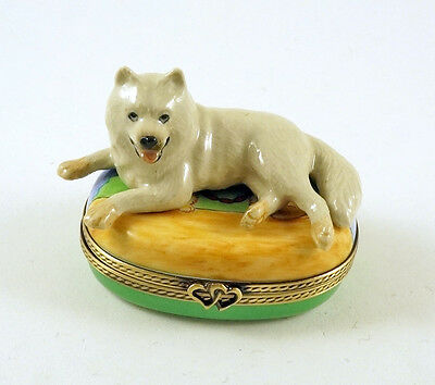 New Hand Painted French Limoges Trinket Box Cute Samoyed Dog Puppy
