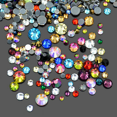 288pcs Mixed Size DMC Hotfix Quality Rhinestones Flatback Nail Art Multi Color