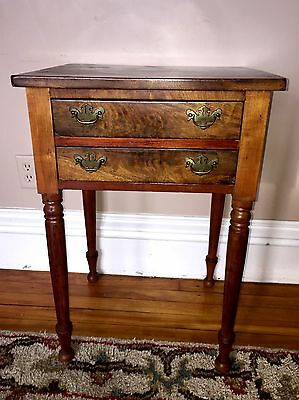 Antique Early American Burl Veneer 2-Drawer Stand Lamp Table