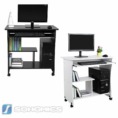 Movable Computer Desk PC Table Home Office Study Desk Workstation With Shelves