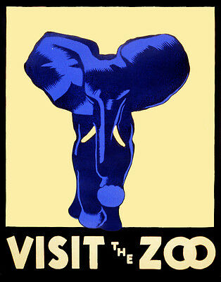 "Vintage Illustrated Zoo Poster CANVAS PRINT ~ Blue Elephant 8""X 10"""