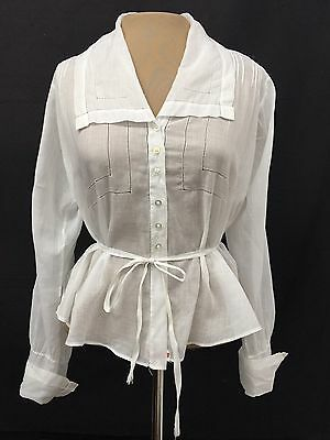 RARE 1800s Antique Vtg Victorian BLOUSE White Tissue Cotton Edwardian 1900s L