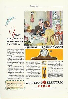 Serenely on time General Electric Clock ad 1930