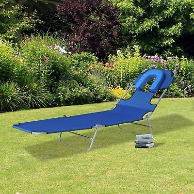 Outsunny Chaise Lounger Folding Recliner Beach Camping Sun Bed Adjustable Blue