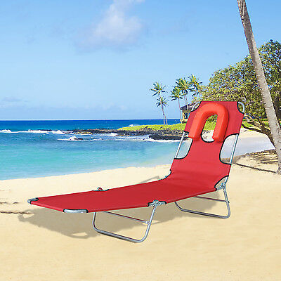 Outsunny Chaise Lounger Folding Recliner Beach Camping Travel Sunbed Adjustable