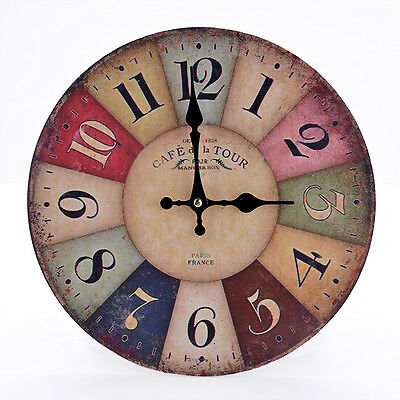 Large France Wall Clock Vintage Antique Retro Rustic Style Look French Designer