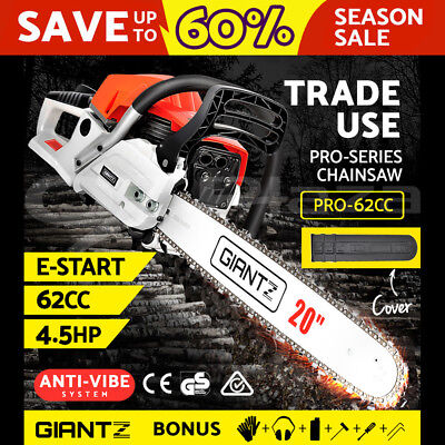 "Latest Giantz 62cc Petrol Commercial Chainsaw 20"" Bar E-Start Chain Saw Pruning"