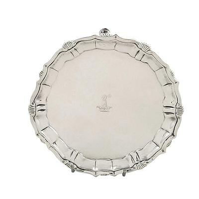 "Antique Georgian Sterling Silver 6"" Tray/salver - 1742"