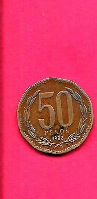 Chile Chilean Km219.2 1992 Vf-Very Fine-Nice Large 50 Pesos Coin