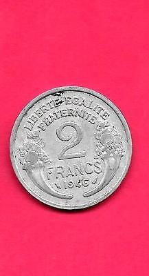 FRANCE FRENCH KM886a.1 1946 VF-VERY FINE-NICE OLD VINTAGE USED 2 FRANCS COIN