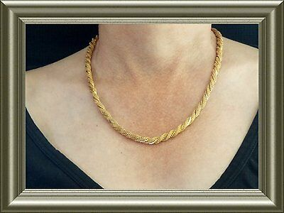 """Vintage beautiful chocker necklaces - 18"""" Gold tone twisted Rope type 1970's"""