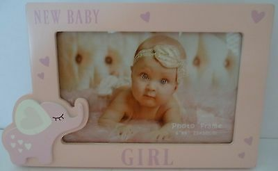 "Baby Keepsake ""new Baby Girl"" Pink Timber Photo Frame Christening Newborn Gift"