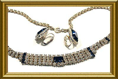 Vintage Retro 1950's Beautiful Blue And Clear Rhinestone Necklace & Earrings