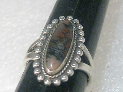 Vintage Sterling Silver Bell Trading Company Long Oval Agate Ring, sz.7.5, 5.38g