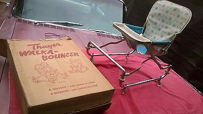 1960 Vintage Thayer Tot Baby Toddler Atomic Sunburst & Metal Walka-bouncer w/box