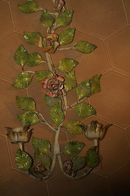 CHIC VINTAGE ITALIAN TOLE candle SCONCE LAMP  ROSES leafy SHABBY COTTAGE