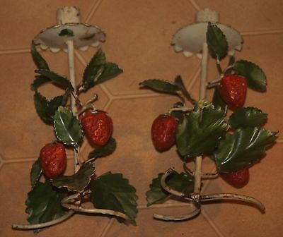 """TOLE ITALY big fat red juicy Strawberry Candle Holder Shabby Cottage 81/2"""" Tall"""
