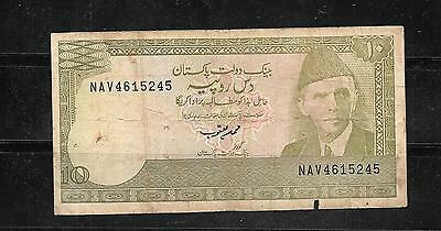 Pakistan #39 1983 Good Circ Old 10 Rupees Banknote Paper Money Currency Note